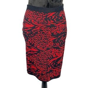 Grace Knit Dressing red / black animal print skirt
